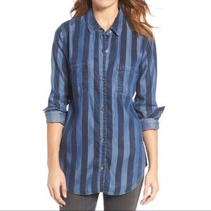 Rails Chambray Striped Button Up Shirt Sz Large